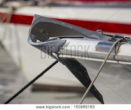 CAGLIARI: Bow of a fishing boat docked in the marina of Marina Piccola - Sardinia