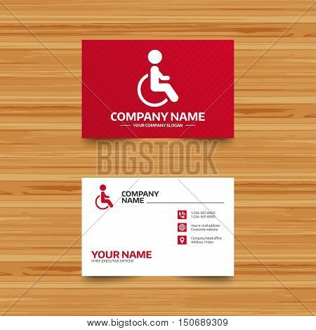 Business card template. Disabled sign icon. Human on wheelchair symbol. Handicapped invalid sign. Phone, globe and pointer icons. Visiting card design. Vector