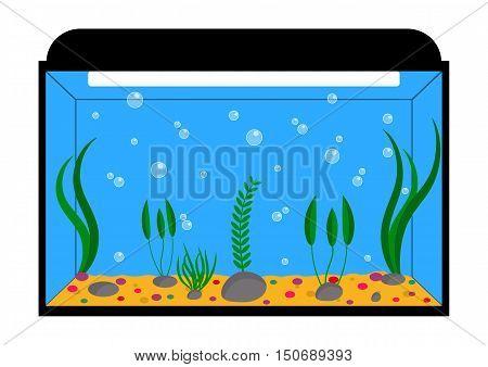 Empty aquarium with algae. Flat. Vector illustration