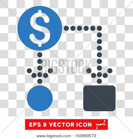 Vector Cashflow EPS vector pictogram. Illustration style is flat iconic bicolor smooth blue symbol on a transparent background.