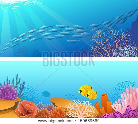 Two banners ore backgrounds with shoal of fishes sun rays and underwater life scene. EPS 10.