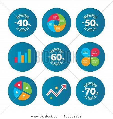 Business pie chart. Growth curve. Presentation buttons. Sale discount icons. Special offer stamp price signs. 40, 50, 60 and 70 percent off reduction symbols. Data analysis. Vector