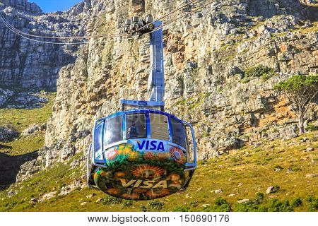 Cape Town, South Africa - January 11, 2014: close up of the cable car's beams to the top of the famous Table Mountain National Park. Aerial Cableway popular tourist attraction in Cape Town.