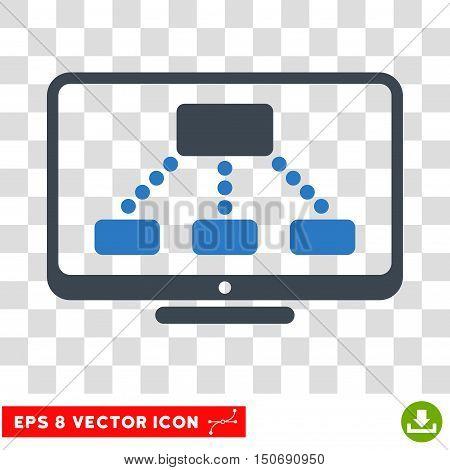 Vector Hierarchy Monitor EPS vector icon. Illustration style is flat iconic bicolor smooth blue symbol on a transparent background.
