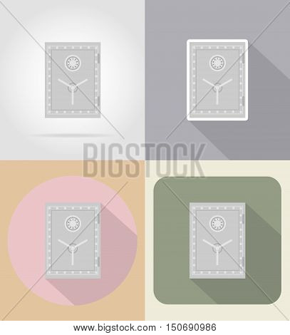 safe with combination lock flat icons vector illustration isolated on background