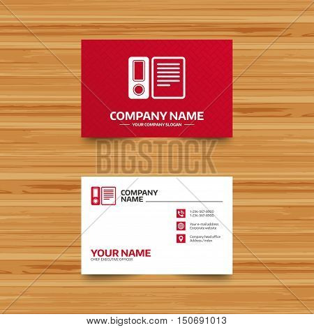Business card template. Document folder sign. Accounting binder symbol. Bookkeeping management. Phone, globe and pointer icons. Visiting card design. Vector
