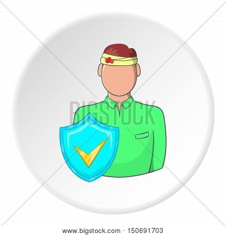 Trauma head of man and sign safety icon in cartoon style isolated on white circle background. Accident prevention symbol vector illustration