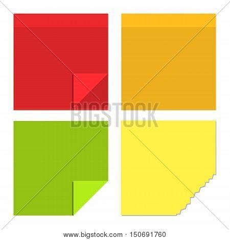 Color paper sticky for notes flat design. Vector illustration