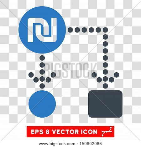 Vector Shekel Cashflow EPS vector icon. Illustration style is flat iconic bicolor smooth blue symbol on a transparent background.