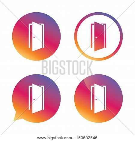 Door sign icon. Enter or exit symbol. Internal door. Gradient buttons with flat icon. Speech bubble sign. Vector