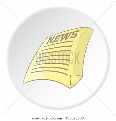 Newspaper icon in cartoon style isolated on white circle background. Paper symbol vector illustration
