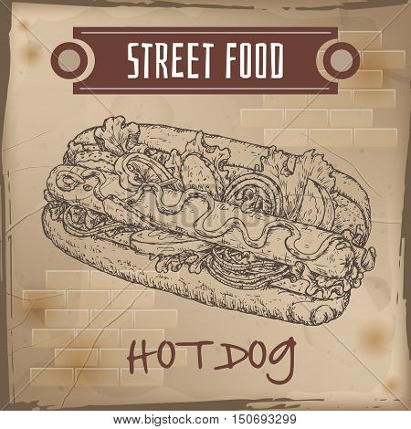 Hot dog sketch on grunge background. American cuisine. Street food series. Great for market, restaurant, cafe, food label design.