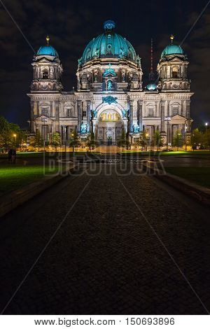 Berlin Cathedral Illuminated By The Lights Of The Illumination, Germany