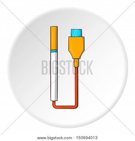 Electronic cigarette charging icon in cartoon style isolated on white circle background. Charge symbol vector illustration
