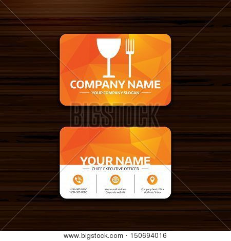 Business or visiting card template. Eat sign icon. Cutlery symbol. Fork and wineglass. Phone, globe and pointer icons. Vector