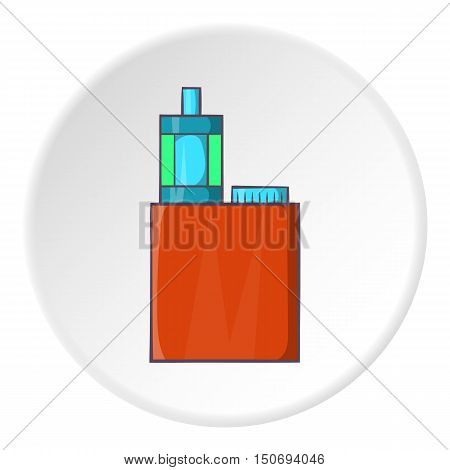Mod and clearomizer in kit icon in cartoon style isolated on white circle background. Smoking symbol vector illustration