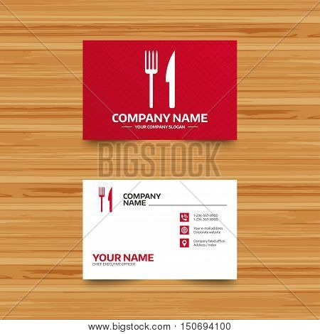 Business card template. Eat sign icon. Cutlery symbol. Fork and knife. Phone, globe and pointer icons. Visiting card design. Vector