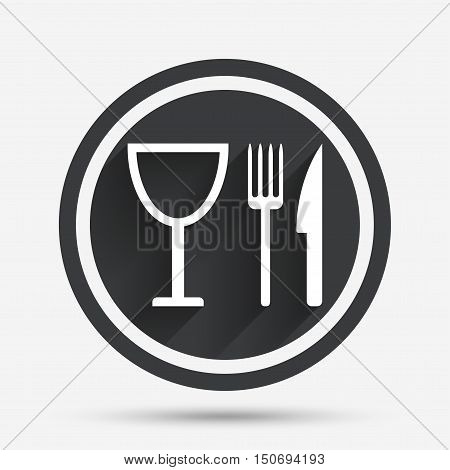 Eat sign icon. Cutlery symbol. Knife, fork and wineglass. Circle flat button with shadow and border. Vector