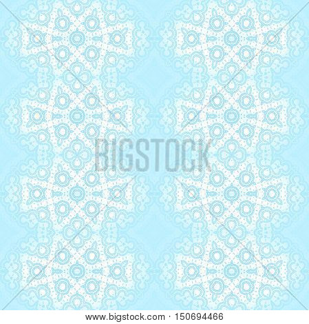 Abstract geometric seamless background. Regular ornaments, white laces pattern with light blue, shiny and delicate.