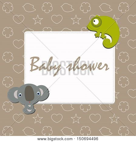 Baby festive photo frame with stickers a Koala, and chameleon. Baby Arrival and Shower. Congratulation, invitation, template.  baby vector illustration.