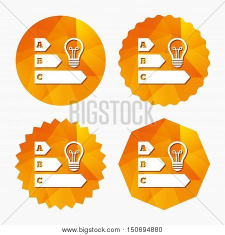 Energy efficiency sign icon. Idea lamp bulb symbol. Triangular low poly buttons with flat icon. Vector