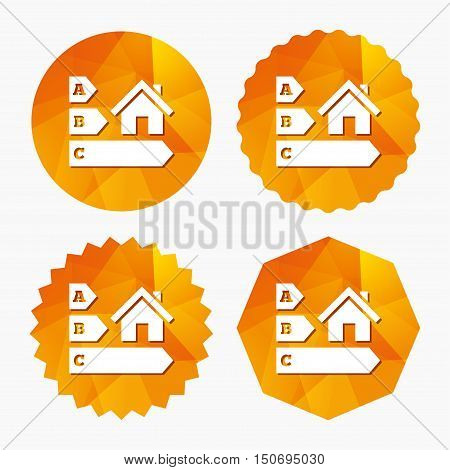 Energy efficiency sign icon. House building symbol. Triangular low poly buttons with flat icon. Vector