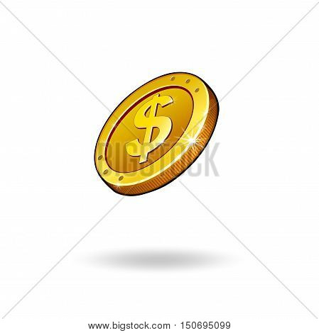 coin gold currency on white background vector illustration icons