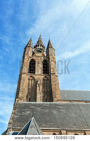 The Building Of The Old Church   In Delft, Netherlands