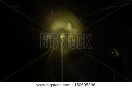 fractal abstraction in the center of a dandelion illustration with loosened a feather on a black background
