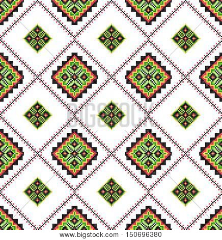 Embroidered old handmade cross-stitch ethnic Ukrainian pattern. Seamless ornament