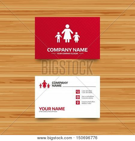 Business card template. One-parent family with two children sign icon. Mother with son and daughter symbol. Phone, globe and pointer icons. Visiting card design. Vector