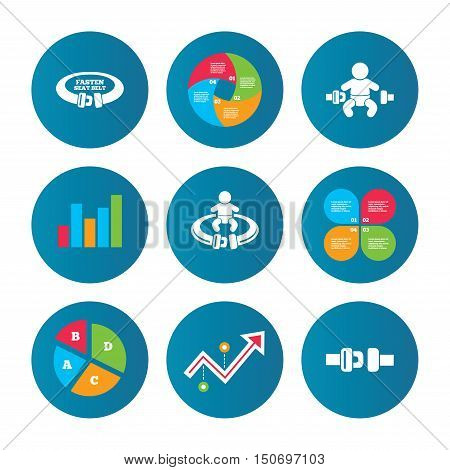 Business pie chart. Growth curve. Presentation buttons. Fasten seat belt icons. Child safety in accident symbols. Vehicle safety belt signs. Data analysis. Vector