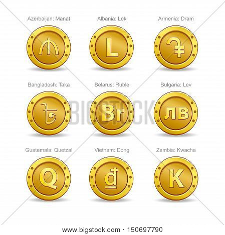 Set of coins on a white background. Currency signs.