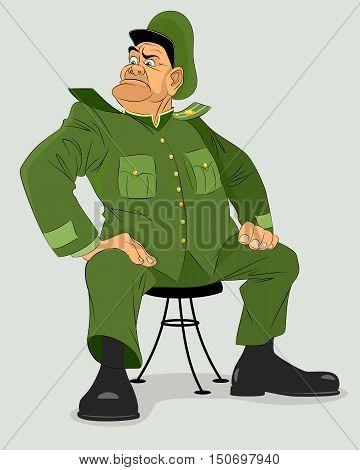Vector illustration of a military general on chair