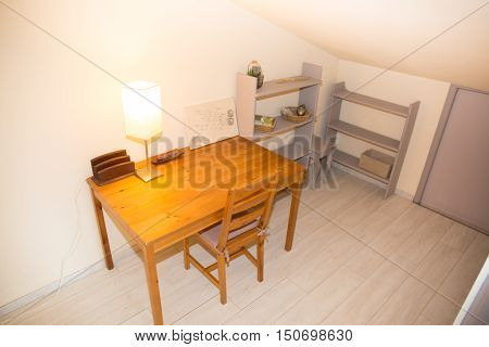 Wooden Well Arranged Desk Prepared To Work