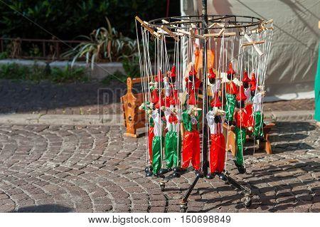 Wooden Pinocchio Puppet As A Souvenir Of Italy