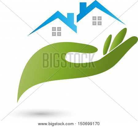 Two houses and hand, real estate, house, roof