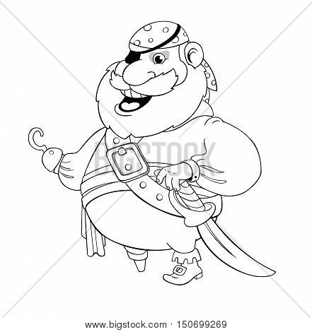 Old pirate with wooden foot and hook. Vector illustration. Contour drawing.