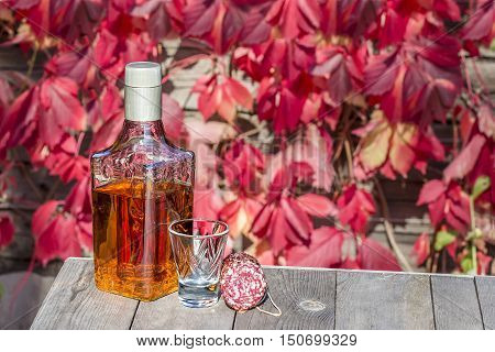 Bottle of tequila with a shot and a sausage on the old table in autumn garden's