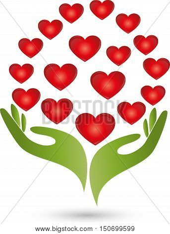 Two hands and many hearts, love logo
