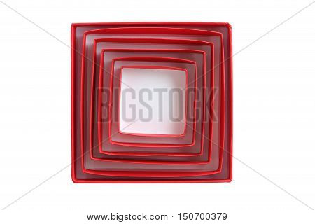 Red Boxes Isolated On A White Background