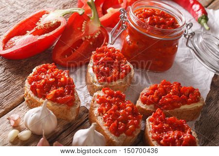 Sandwiches With Butter And Ajvar Close-up. Horizontal