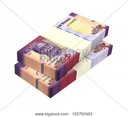 Nigerian naira bills isolated on white background. 3D illustration.