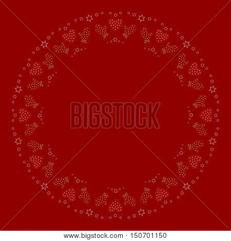 Repeating decorated red hearts and green mittens silhouette pattern on the red background. Border frame with space for text. Christmas and Happy New Year symbol concept vector illustration