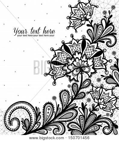 Lace background with a place for text. Black lace vector design.