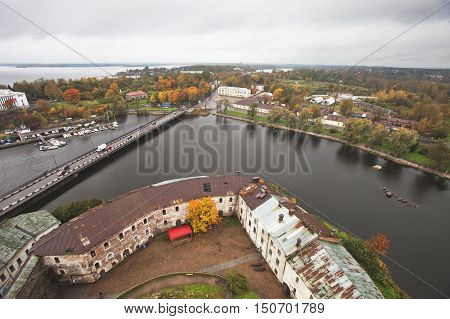 View of autumn city from the st. Olaf tower of the Vyborg Castle