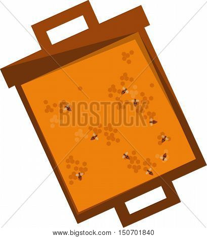 honeycomb frame isolated on white background, flat vector illustration. Honey bees are sitting in the comb. honeycomb with full cells. Sweet fresh honey in honeycomb frame