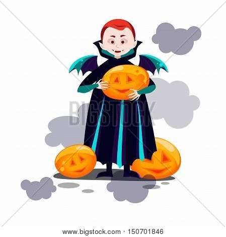 the boy vampire with wings,holding a pumpkin in hands, smiling pumpkin glowing. vector illustration of a boy dressed as a vampire. cartoon Dracula with wings depicted in full growth