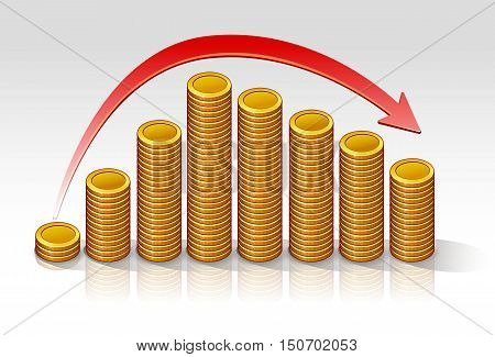 Coins diagram drop vector illustration on a light background with a red arrow