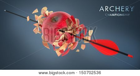 3d aim apple pierced by an arrow